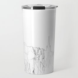Edinburgh, Scotland UK Skyline B&W - Thin Line Travel Mug