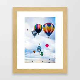 Cute seal, Wolf and Penguin Hot Air Ballons Framed Art Print