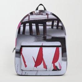 Snow Covered Foot Bridge Backpack