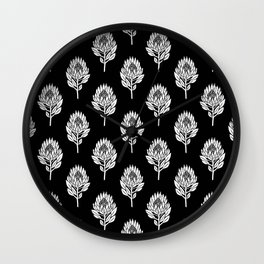 Linocut Protea flower printmaking pattern black and white floral Wall Clock