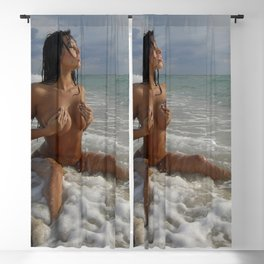 0093-SS Beautiful Naked Woman Nude Beach Sand Surf Big Breasts Long Black Hair Sexy Erotic Art Blackout Curtain