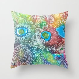 Water colors 1 - Rainbow corals Throw Pillow