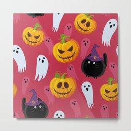 October Halloween halloween cat witch pumpkin ghost pink Metal Print