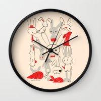 bunnies Wall Clocks featuring Bunnies by Jay Fleck