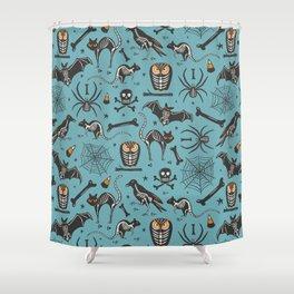 Halloween X-Ray Blue Shower Curtain
