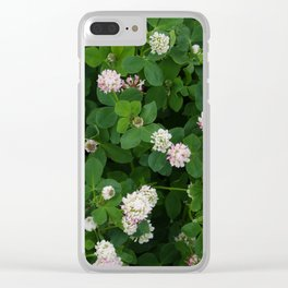Clover flowers green and white floral field Clear iPhone Case