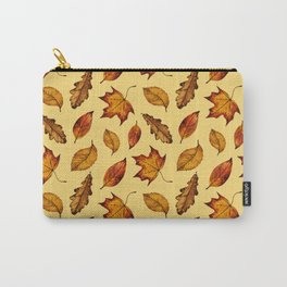 Painted Autumn Leaves Falling Pattern Carry-All Pouch
