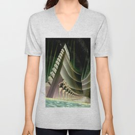 'We Came Here to Shine' - Billy Rose's Acquacade Art Deco 1920's Theatrical Portrait Unisex V-Neck