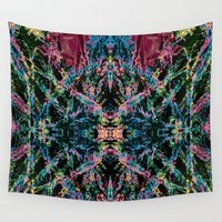 good vibes Wall Tapestries featuring GOOD VIBES by Lara Gurney