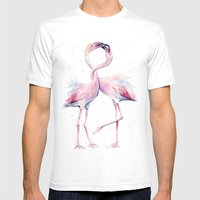 Two Flamingos Watercolor Flamingo Love White MEDIUM Mens Fitted Tee