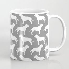 White Staffordshire Bull Terrier Silhouette(s) Coffee Mug