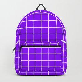 Electric violet - violet color - White Lines Grid Pattern Backpack