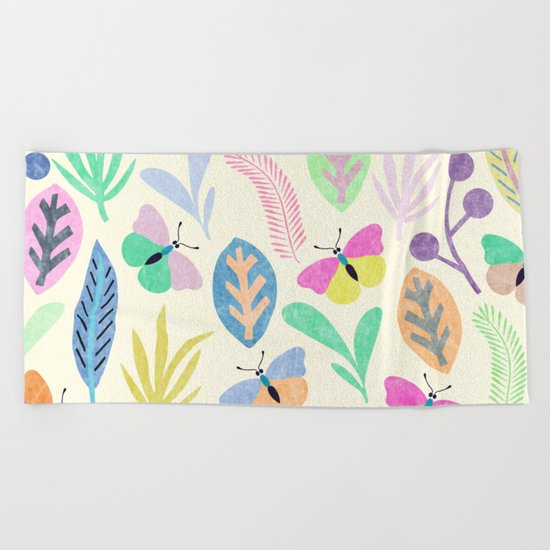 Flower and Butterfly II Beach Towel