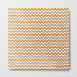 Coral Orange and Gray Grey Chevron Metal Print