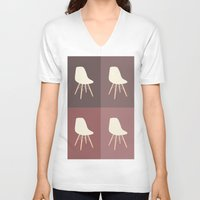 eames V-neck T-shirts featuring Eames x 4 #1 by bittersweat