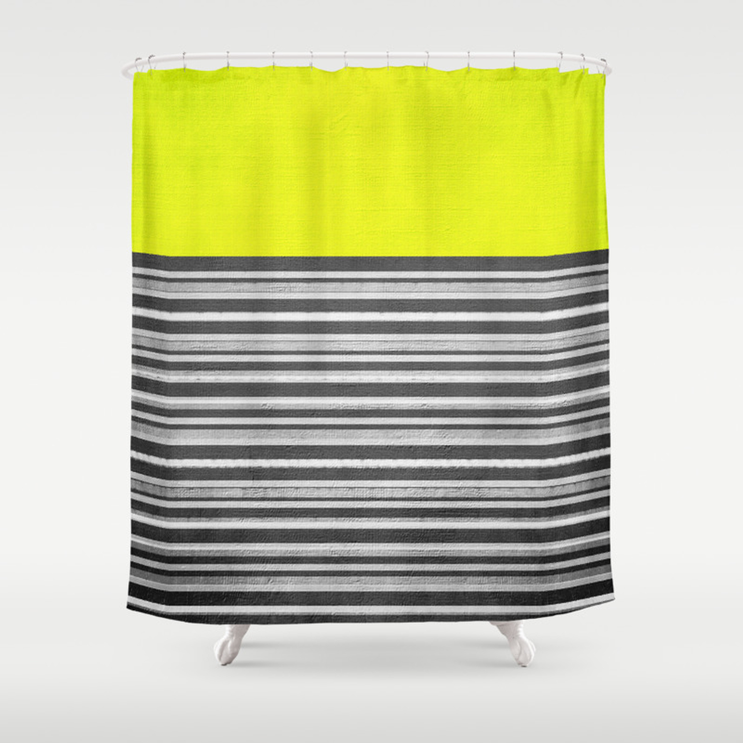Yellow Gray Stripes Shower Curtain