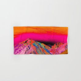 California's Sierra Mts-Digital Art, Pink & Orange Hand & Bath Towel