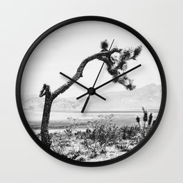 Crooked Cactus B&W // Desert Landscape Photograph Mojave Sierra Nevada Cacti Scenic View Wall Clock