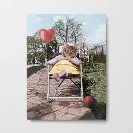 A pretty, little kitty with a heart-shaped balloon Metal Print