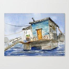 Sausalito Houseboat Watercolor Canvas Print