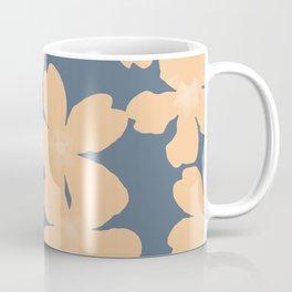 Nude primroses floral pattern on blue Coffee Mug