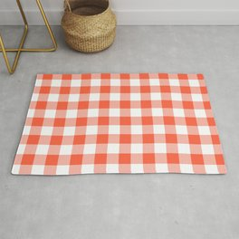 Jumbo Living Coral Color of the Year Orange and White Buffalo Check Plaid Rug