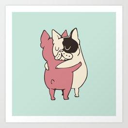French Bulldog  Hugs Art Print