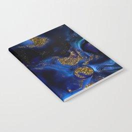 Gold and Indigo Malachite Marble Notebook