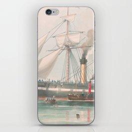 Vintage Illustration of The President's Steamship (1840) iPhone Skin