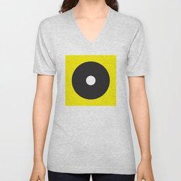 White dot on black on yellow Unisex V-Neck