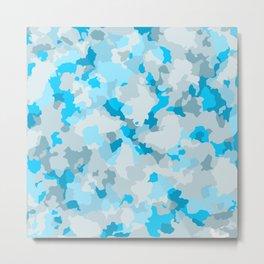 Glamorous large sky blue  camouflage pattern Metal Print