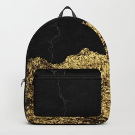 Rough Gold Torn and Black Marble Backpack
