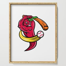 Red Chili Pepper Baseball Mascot Serving Tray