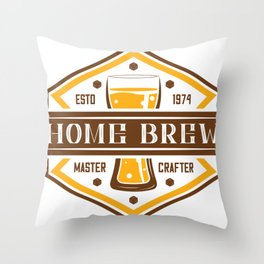 D20 Home Brew Content Creator Beer Label Throw Pillow