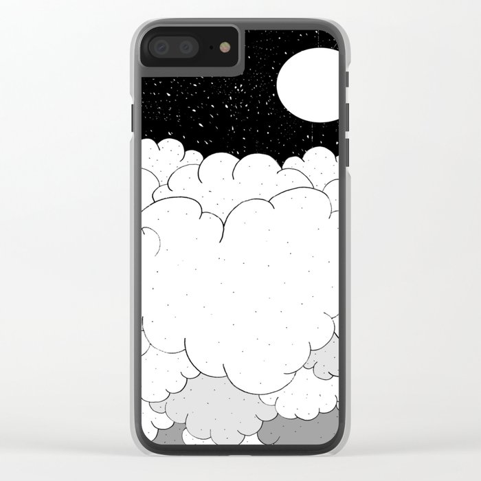 The moon and the clouds Clear iPhone Case