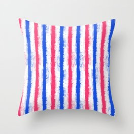 pink no blue bounding splatter stripes Throw Pillow