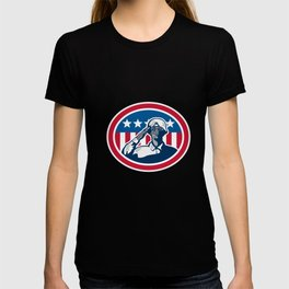 African American Soldier Salute Flag Retro T-shirt