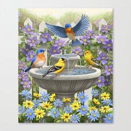 Bird Fountain Flower Garden Gathering Canvas Print