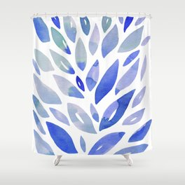 Watercolor floral petals - blue Shower Curtain