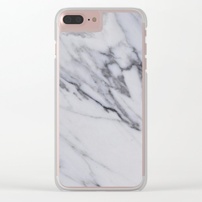 Marble - Black and White Gray Swirled Marble Design Clear iPhone Case