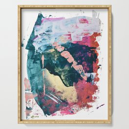 Taos: A vibrant abstract mixed-media painting in various colors by Alyssa Hamilton Art Serving Tray