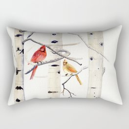 Birch Trees and Cardinal Rectangular Pillow