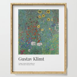 Gustav Klimt - Exhibition Art Poster - Cottage Garden With Sunflowers - Belvedere Museum Serving Tray