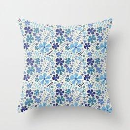 My Little Garden blue & green Throw Pillow