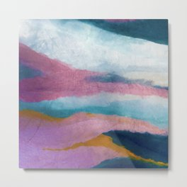 Ephemeral [3]: a vibrant abstract acrylic piece in pink, blues, and yellow Metal Print