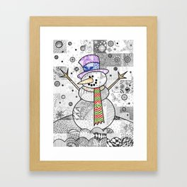 Coloured Snowman Framed Art Print