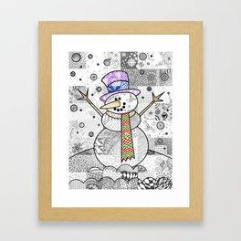 Coloured Snowman Framed Art Print