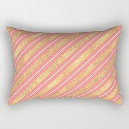Modern elegant faux gold glitter coral geometric stripes Rectangular Pillow