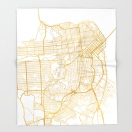 SAN FRANCISCO CALIFORNIA CITY STREET MAP ART Throw Blanket