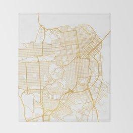 SAN FRANCISCO CALIFORNIA CITY STREET MAP ART Throw Blanket